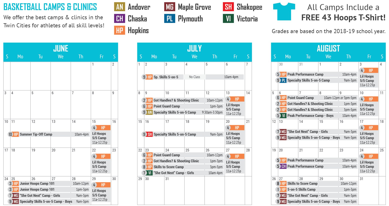 43 Hoops Camps Calendar 2018
