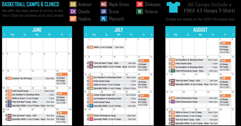 43 Hoops Camps Calendar 2019