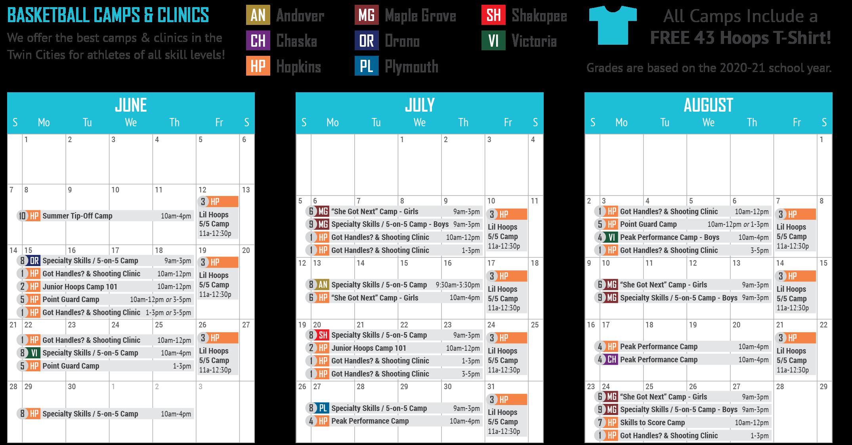 43 Hoops Camps Calendar 2020